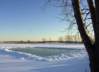 Natural ice rink in front of St. Jamestown Sailing Club