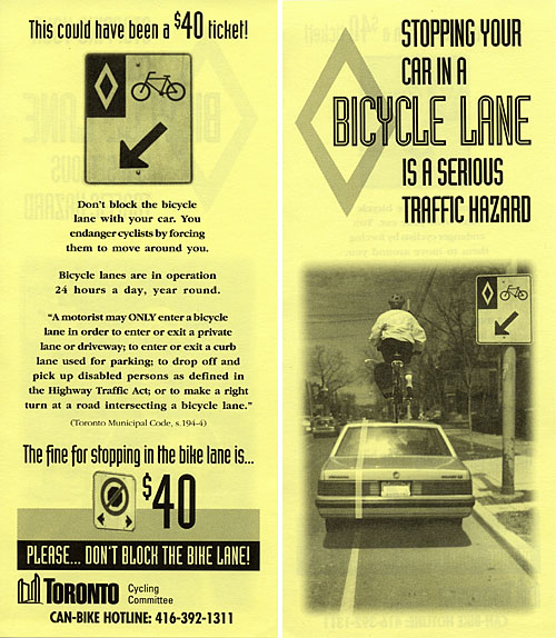 A parking ticket for bike lane offences