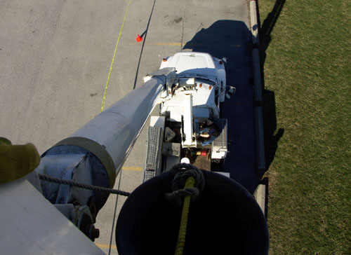 Looking straight down the boom that's holding me aloft