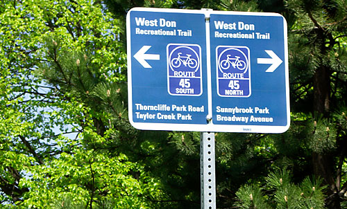 A wayfinding sign in the Don Valley points the (wrong) way