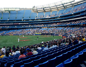 A smattering of fans take in a Blue Jays game