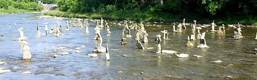 50 perfectly-balanced towers in the river