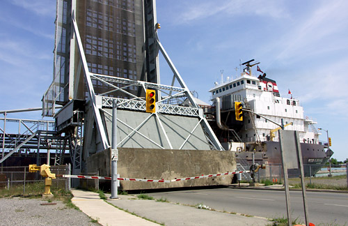 A laker passes through the Welland Canal