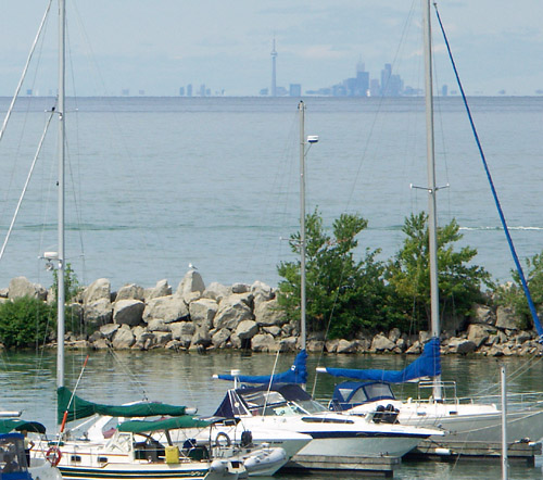 The Toronto skyline as seen from Port Dalhousie