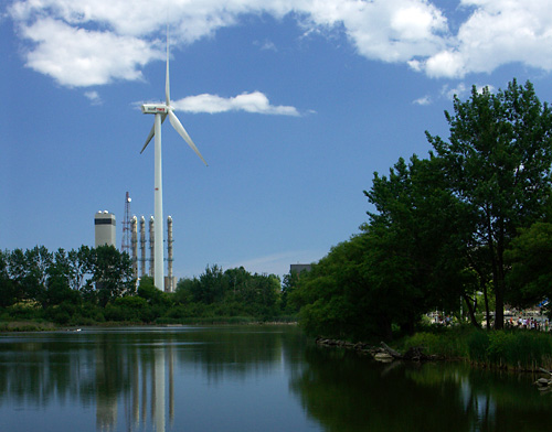 Pond and wind turbine in Pickering