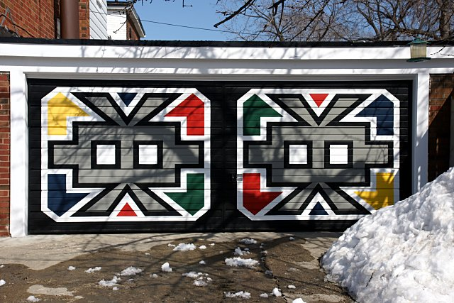 Colourful garage door in East York