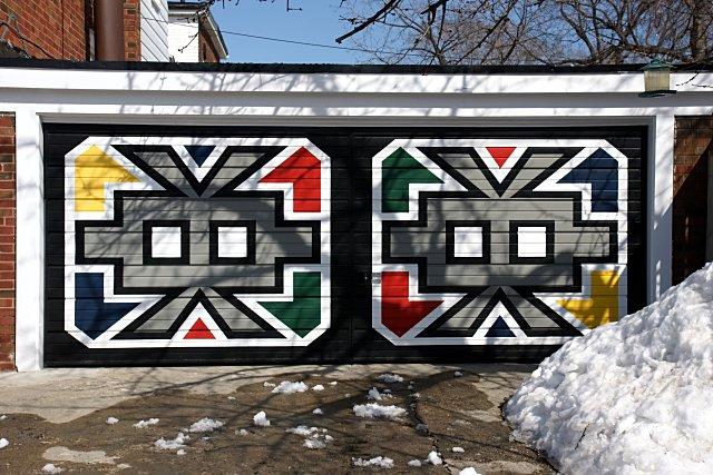 Colourful garage door in East York