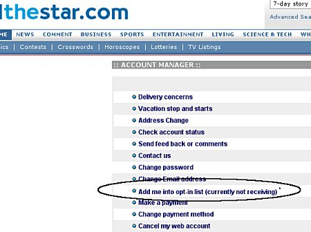 The Star's account manager, showing my current 'opt-in' status