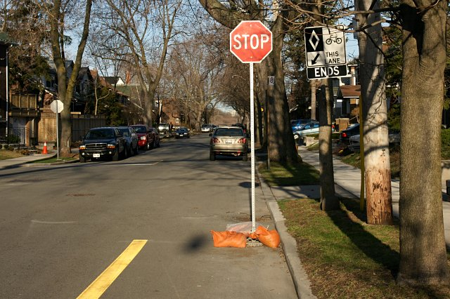 Temporary stop sign on the Chester Hill Road bike lane