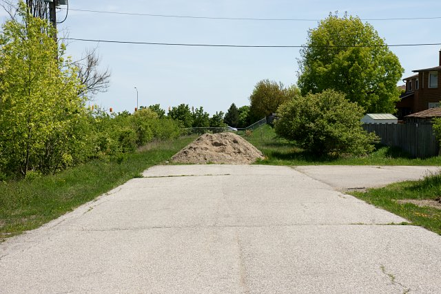 Part of Indian Line ends in a pile of dirt north of Finch