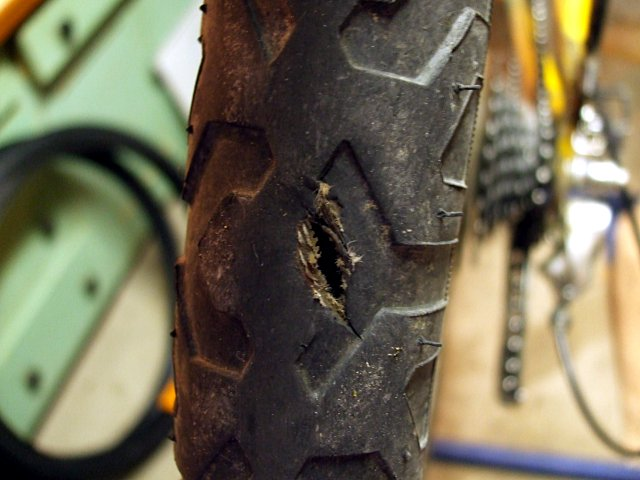 The result of a tire blowout