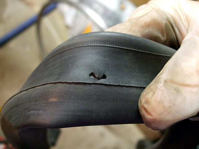 Bicycle tube blowout