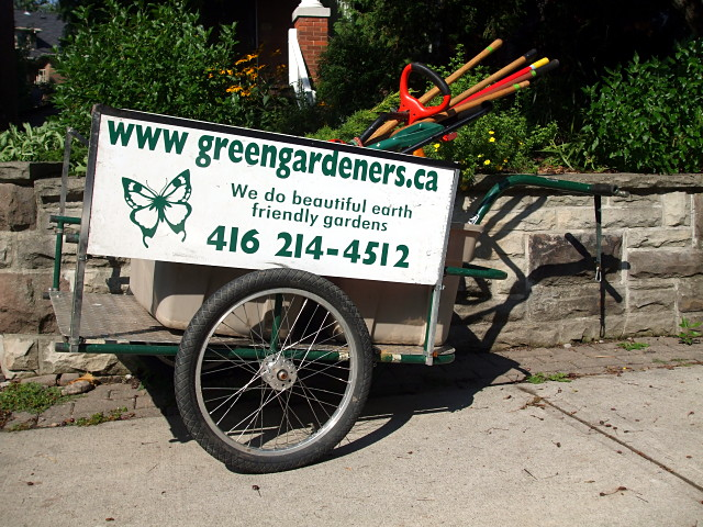 Green Gardeners bicycle trailer
