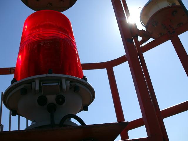Red light blue sky
