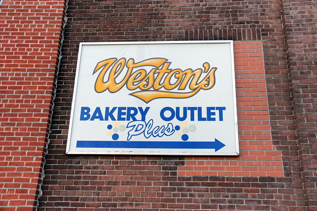 Weston's wordmark on a bakery in Tor