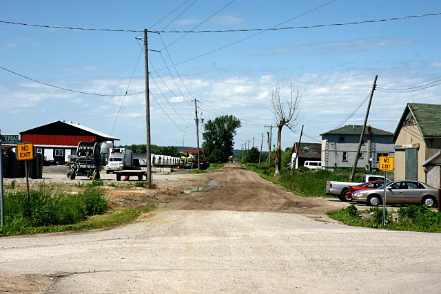 Dufferin Street continues as a dirt road a few hundred metres north Graham Sideroad