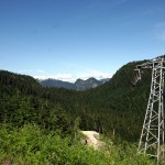 This disused ski lift would bring riders back up from the base of the two ski runs I've been following.