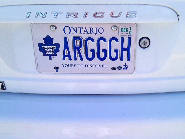 Leafs  ARGGGH licence plate