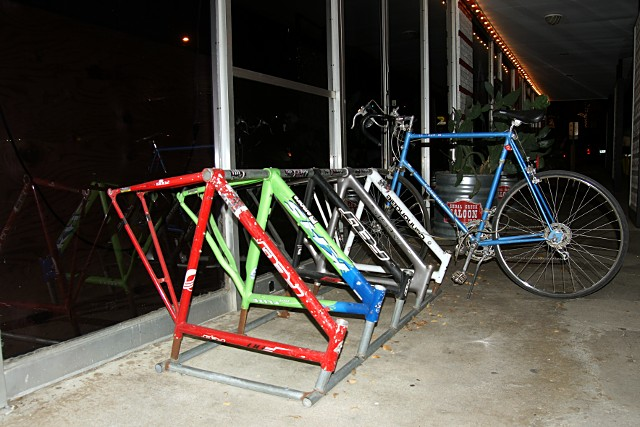 Bike frames made into a bike rack