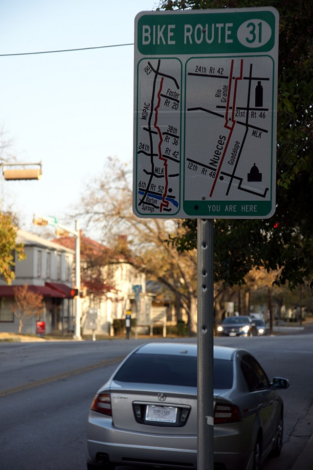 Area map on a bike route sign