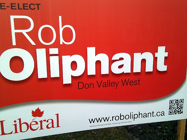 QR code on Rob Oliphant election sign