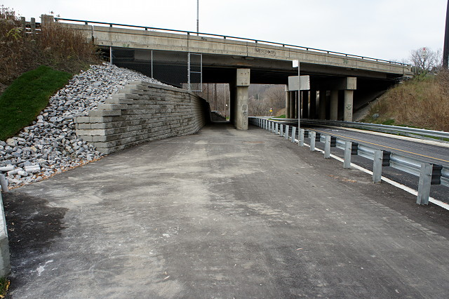 Walking/cycling path ducks under the DVP