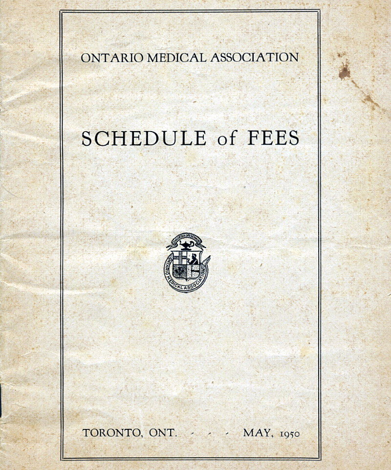 Ontario Medical Association Schedule of Fees 1950 - Cover