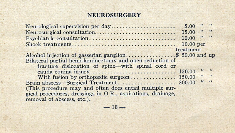 Ontario Medical Association Schedule of Fees 1950 - Neurosurgery