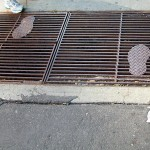 Steps over a sidewalk grate