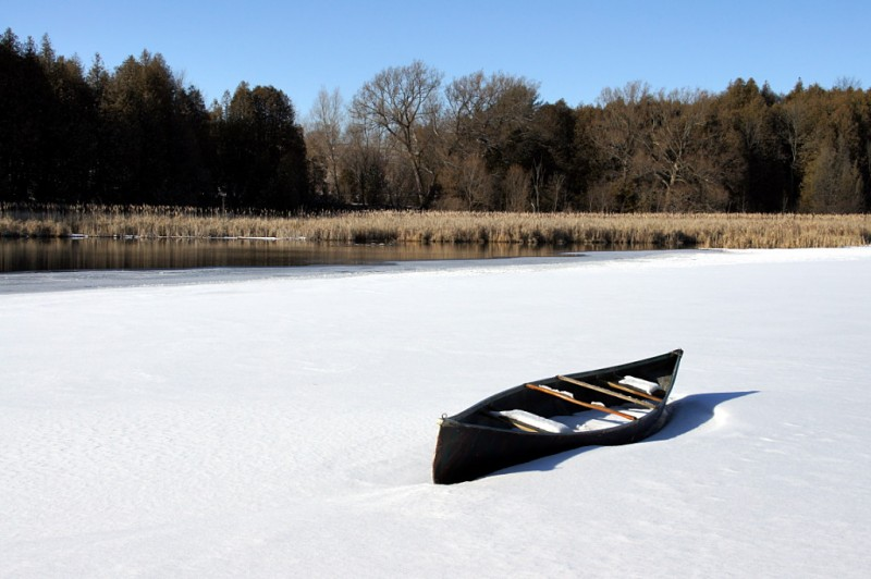 Canoe on the ice