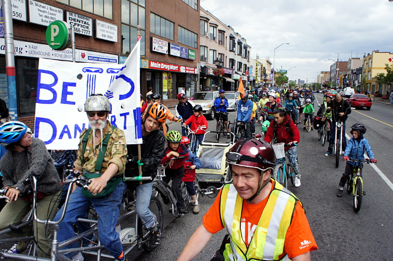 The first ever Bells on Danforth ride pauses at Pape.