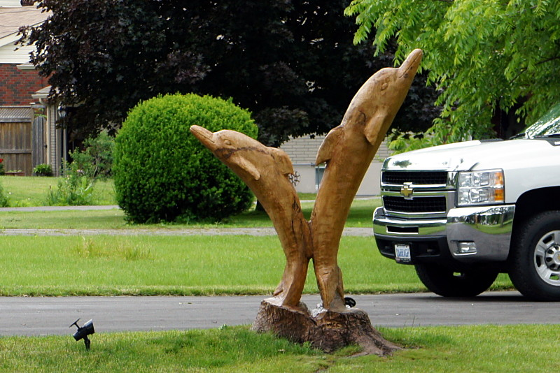 Tree stump carved into jumping dolphins