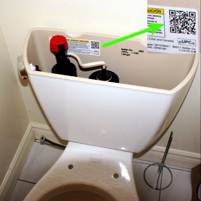 Kohler toilet with a QR code