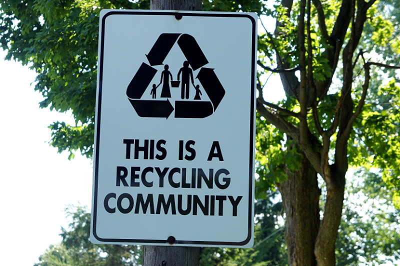 This is a recycling community sign