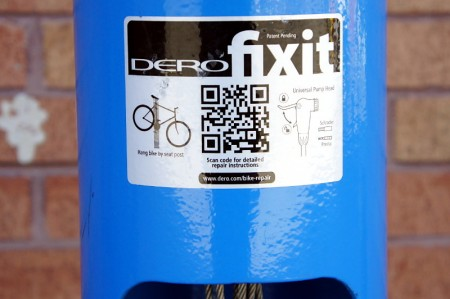 QR code for bike maintenance instructions on the public repair stand.