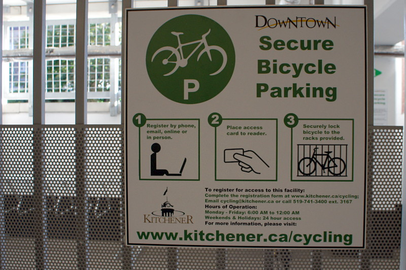 Secure bike parking corral in downtown Kitchener