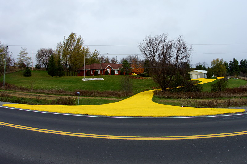 Driveway painted yellow