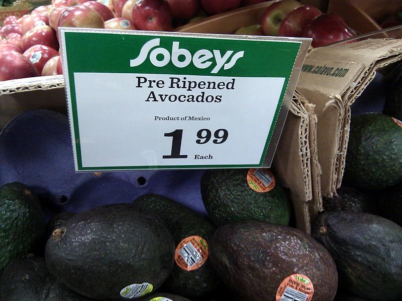 Pre ripened avocados at Sobeys