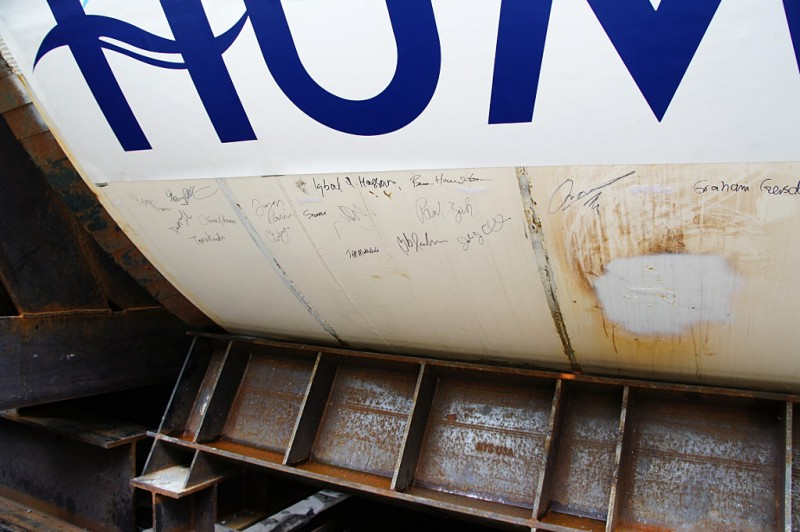 Everyone got to sign the TBM before it heads into its new tunnel
