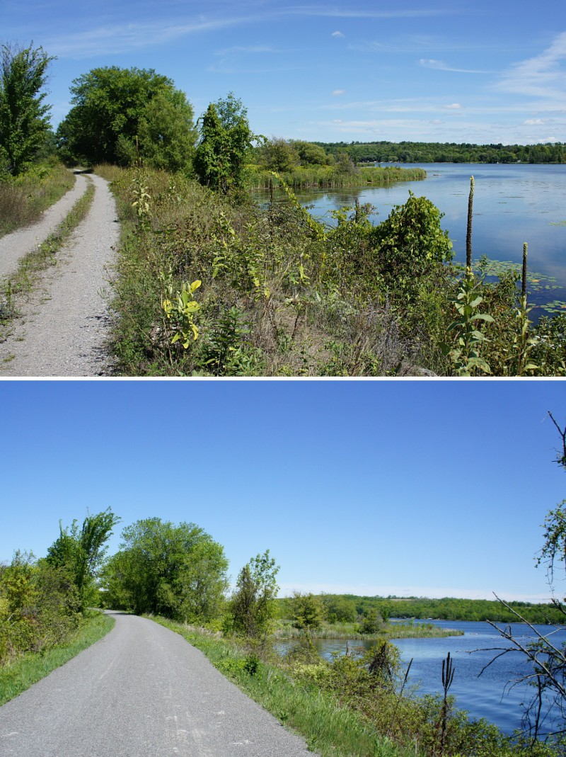 The Lang-Hastings Rail Trail before and after its makeover.