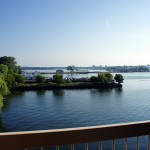 The view from my hotel room overlooking the Wolfe Island Ferry and LaSalle Causeway in Kingston. This is where my trip began.