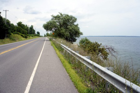 When they say that this is a shore road, they're not kidding. There's basically nothing between the road and the water except that guardrail.
